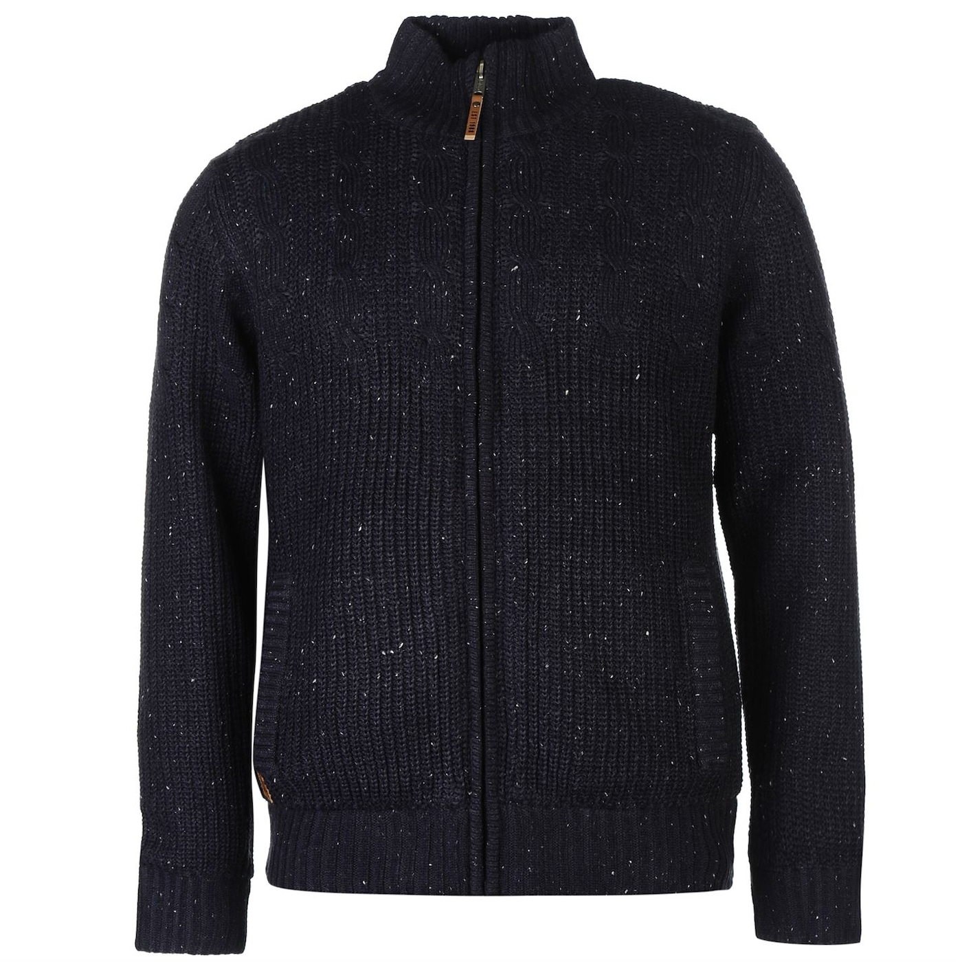 Lee Cooper Zip Through Cable Knit Nep Cardigan Mens