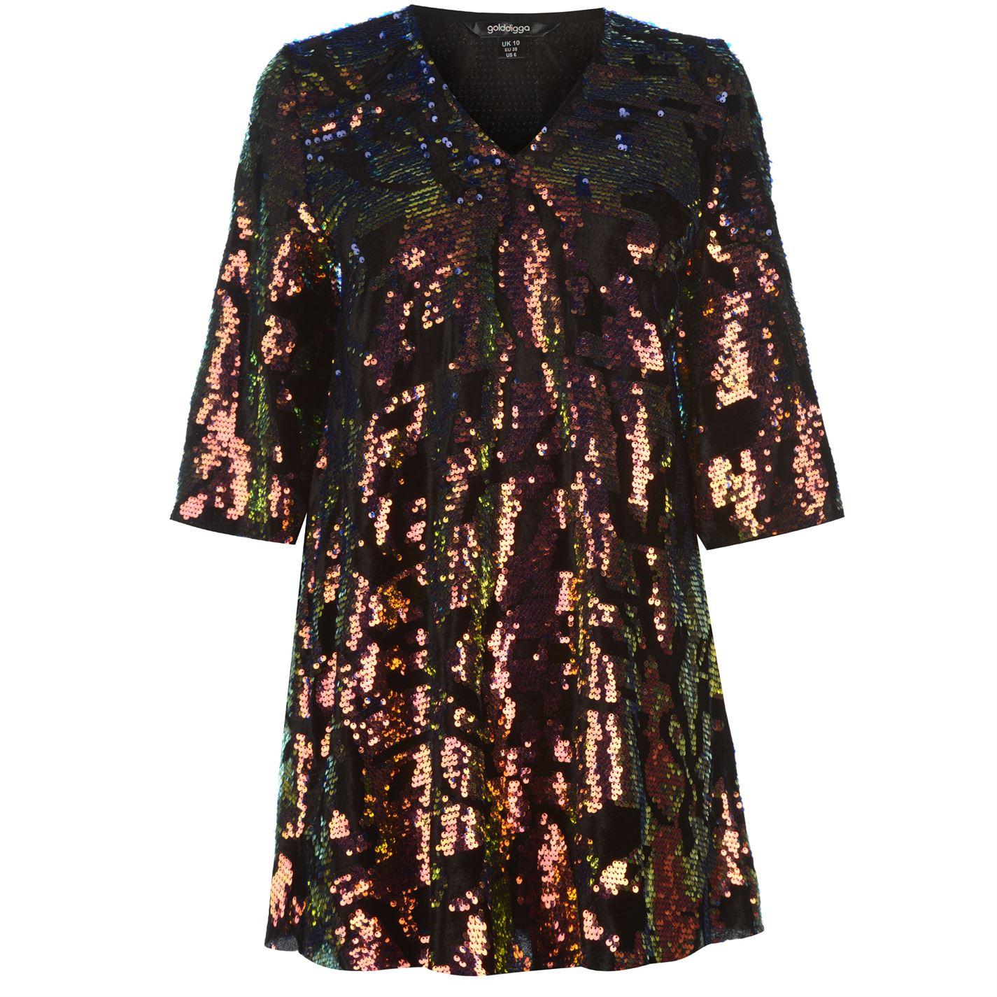Golddigga Velvet Sequin Dress Ladies
