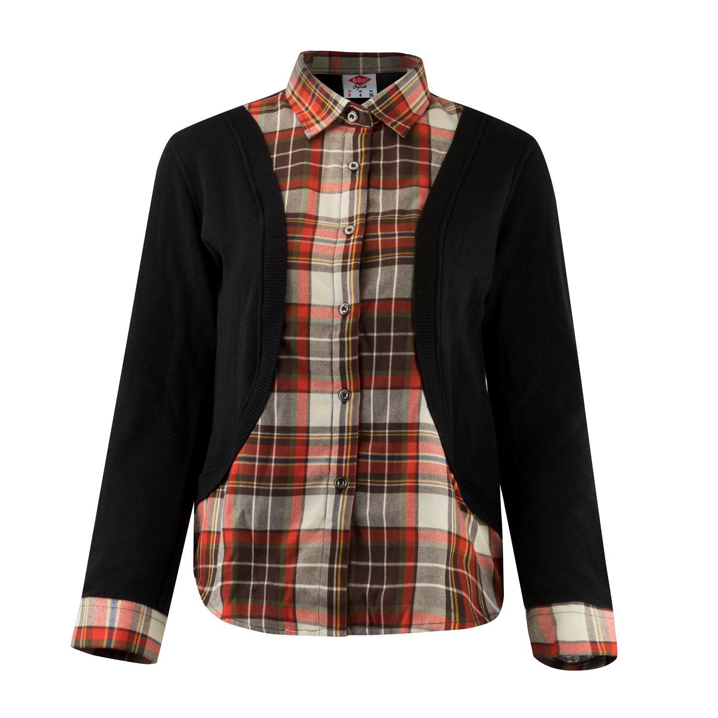 Lee Cooper Check Shirt and Cardigan Ladies
