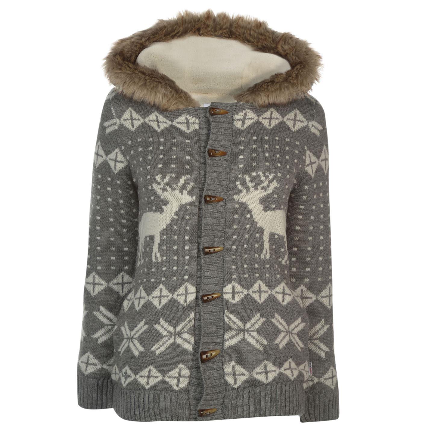 Lee Cooper Hooded Christmas Knitted Jacket dámské