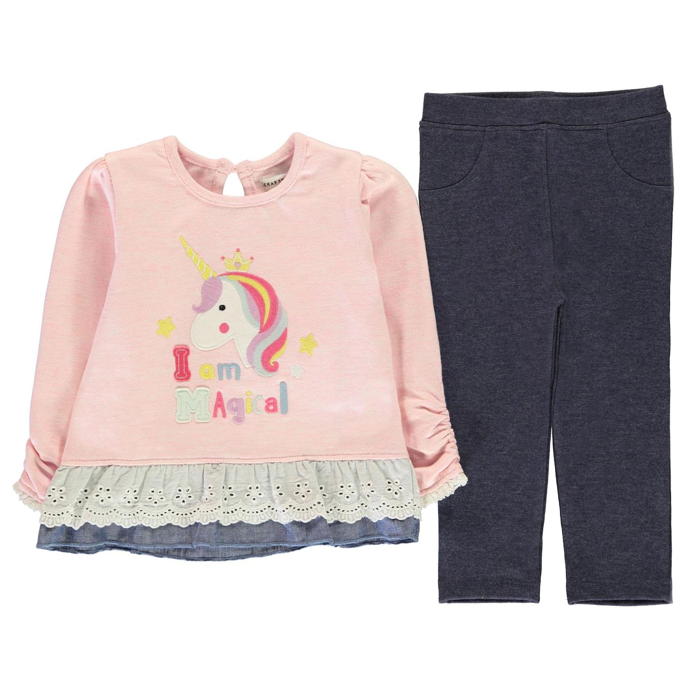Crafted Mini 2 Piece Frilled Hem Top and Leggings Girls Infant