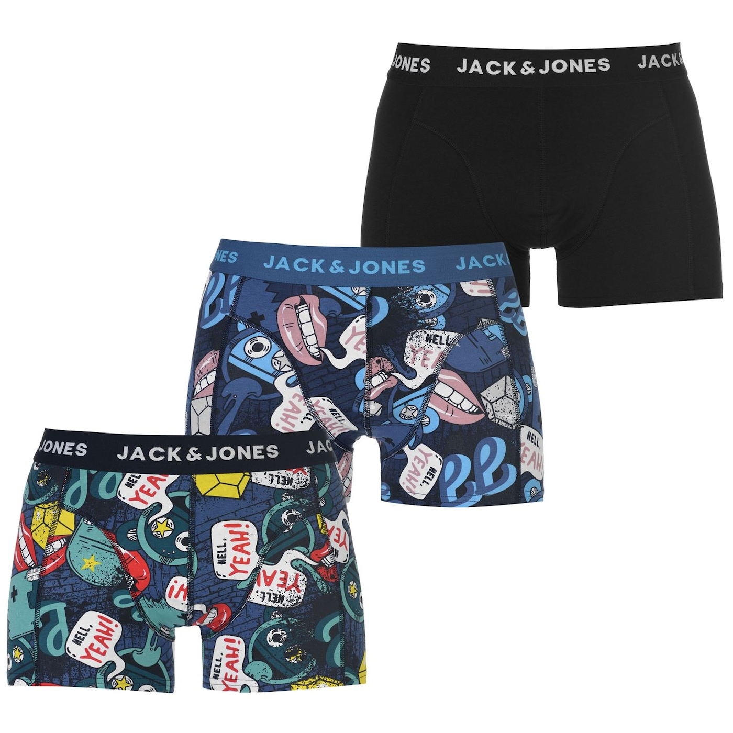 Jack and Jones 3 Pack Printed Trunks