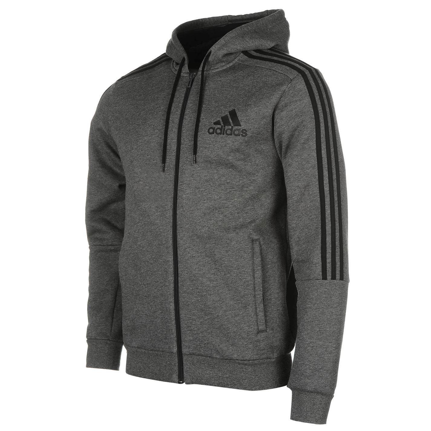 Adidas 3 Stripes Zip Through Hoody Mens