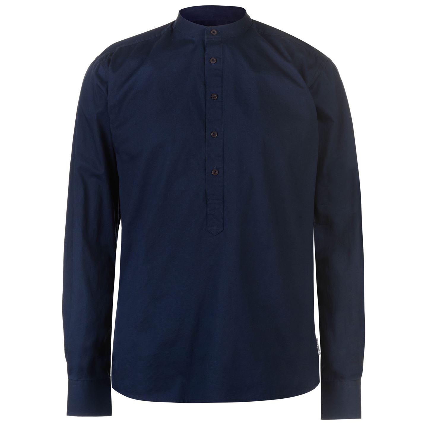 Pierre Cardin Collarless Long Sleeve Shirt Mens