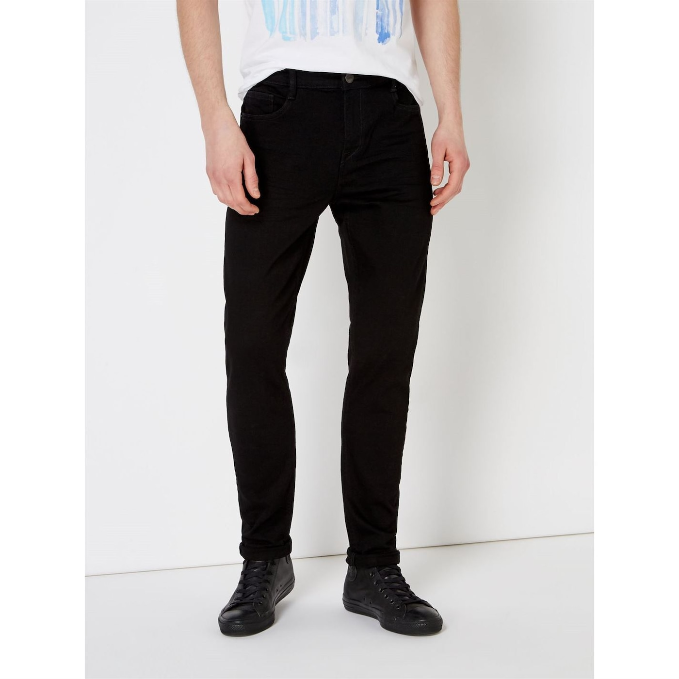 Criminal Skinny Fit Stretch Black Jeans