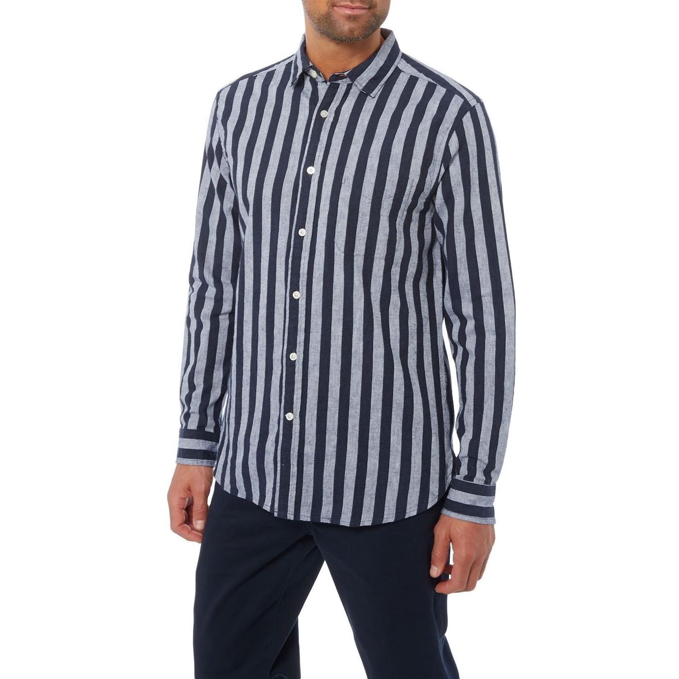 Howick Linen Bold Stripe Long Sleeve Shirt