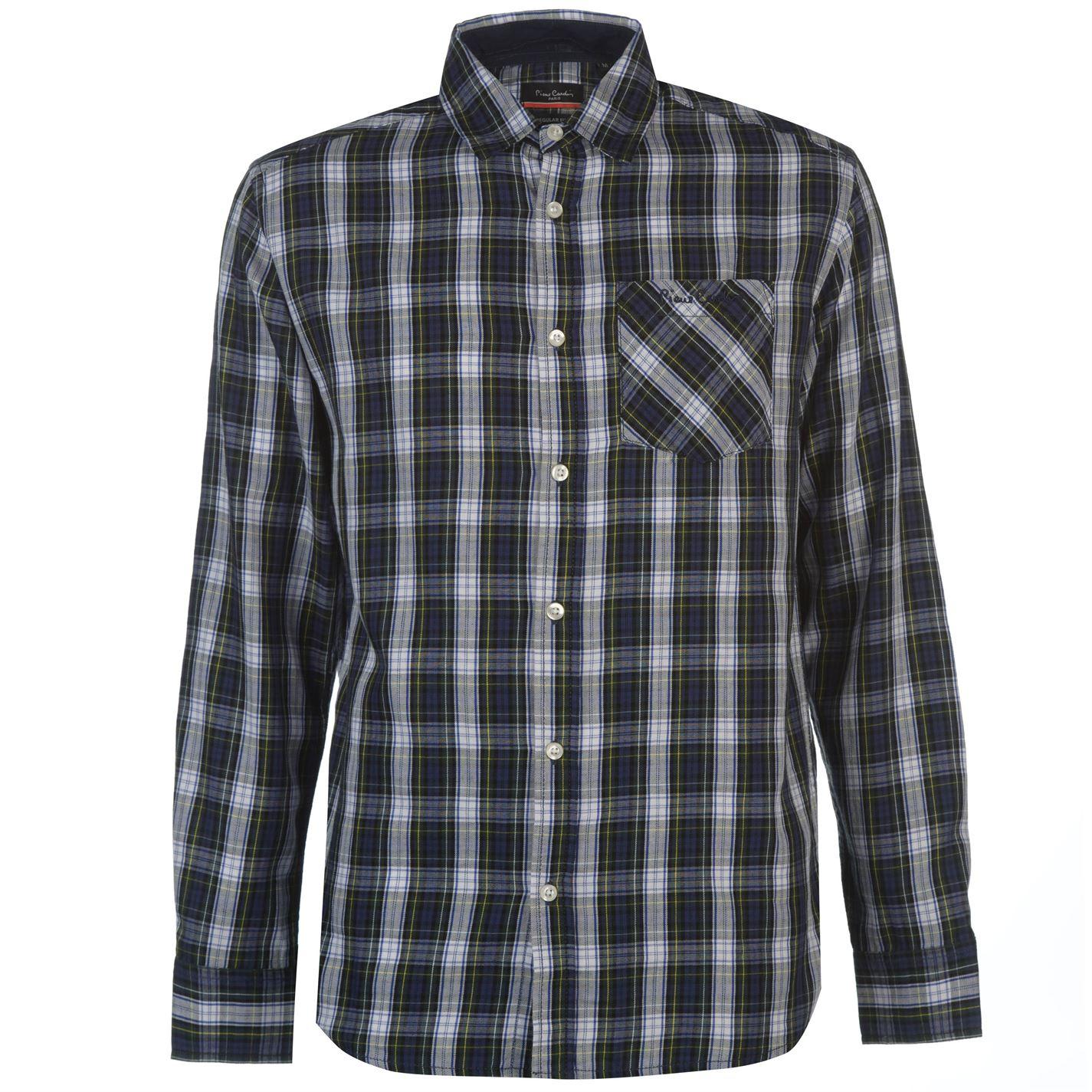 Pierre Cardin Tartan Check Long Sleeve Shirt Mens