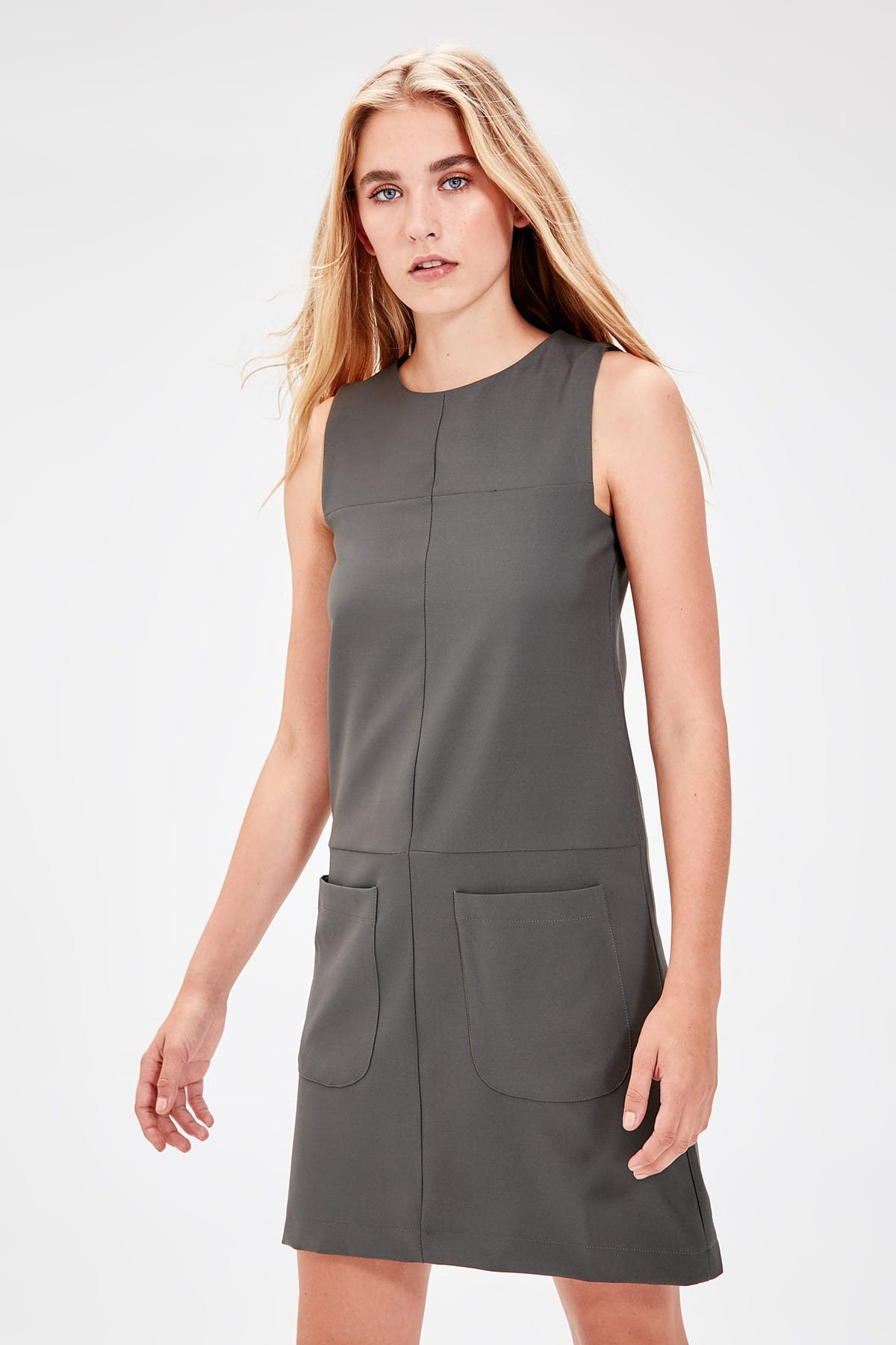 Trendyol Khaki Pocket Dress