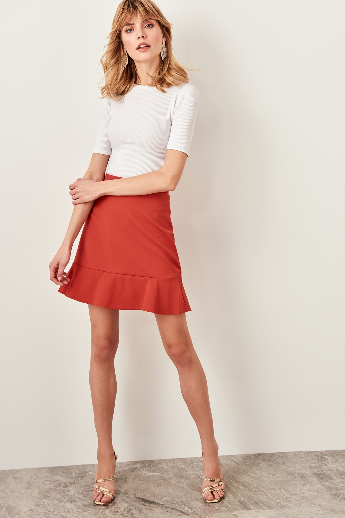 Trendyol Cinnamon Hand-Wheel Skirt