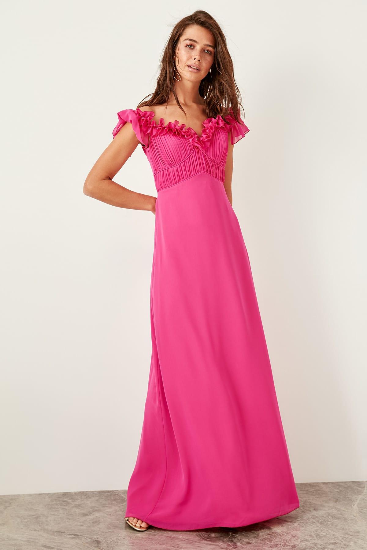 Trendyol dámske večerné šaty s volánmi