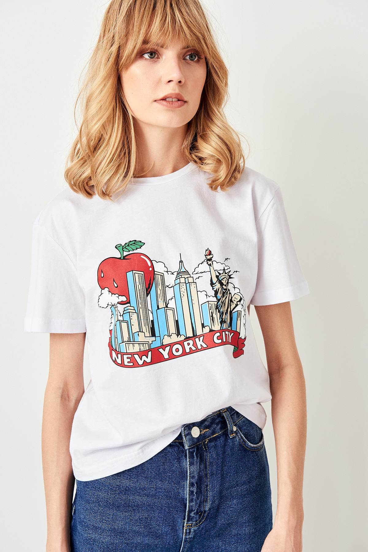 Trendyol White New York City printed Basic knitted T-shirt