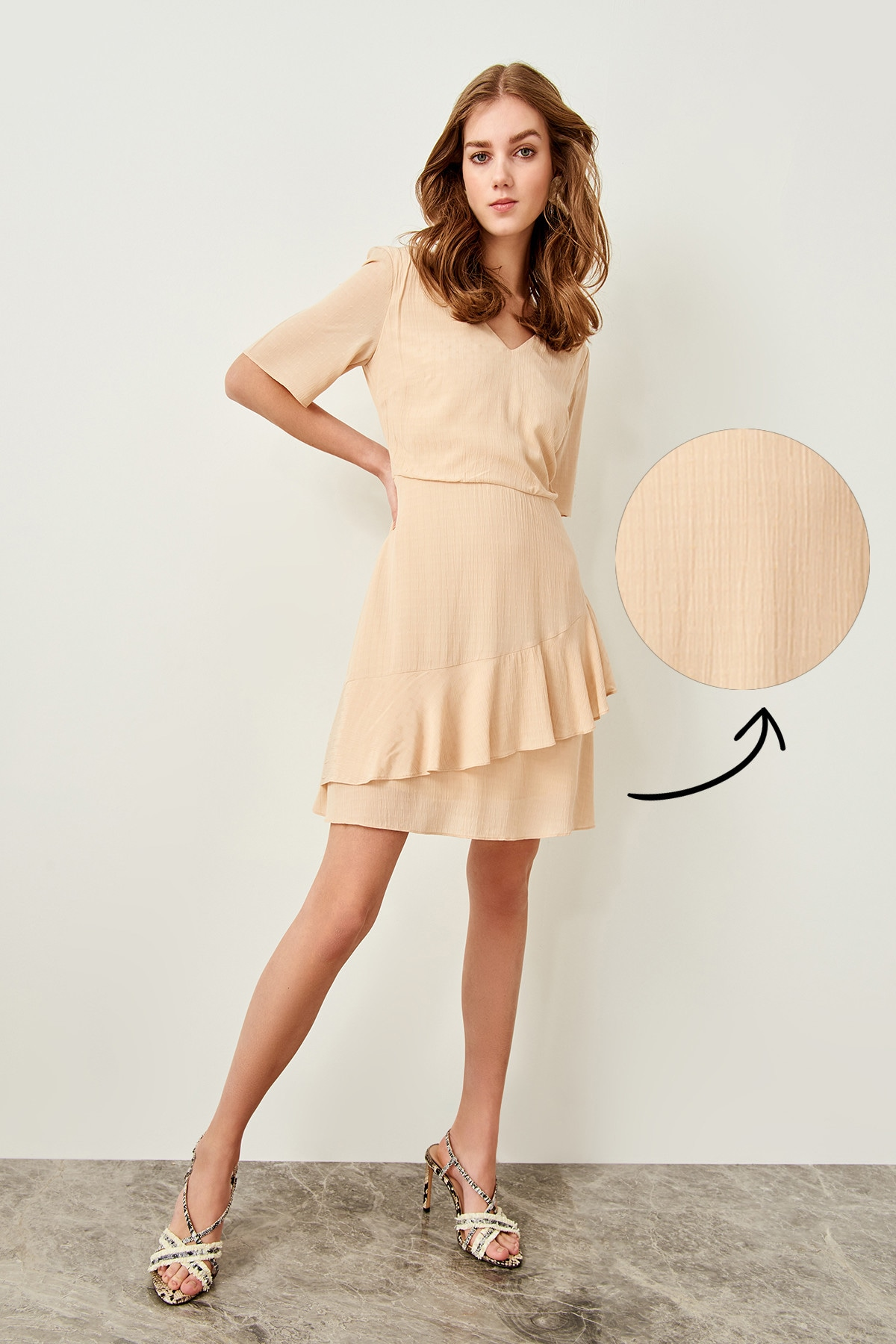 Trendyol Beige Hand-Wheel Dress
