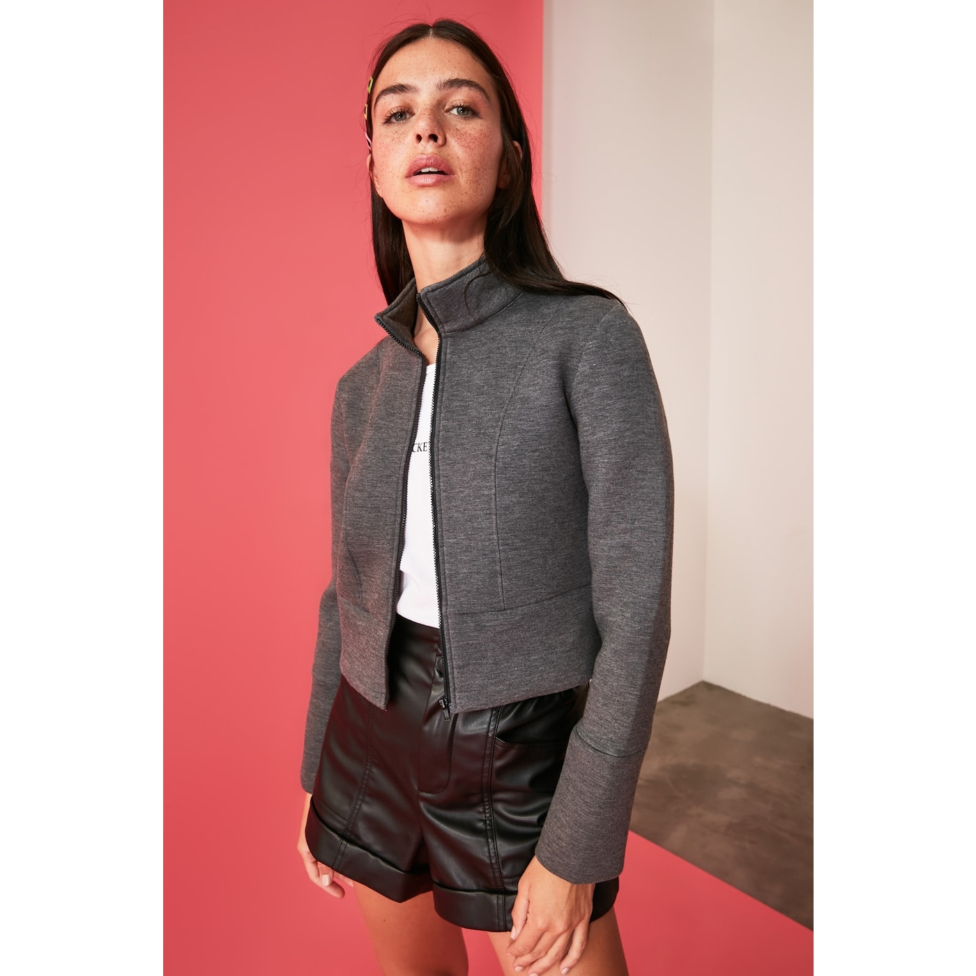 Trendyol Anthracite Crop Knitted Bomber Jacket