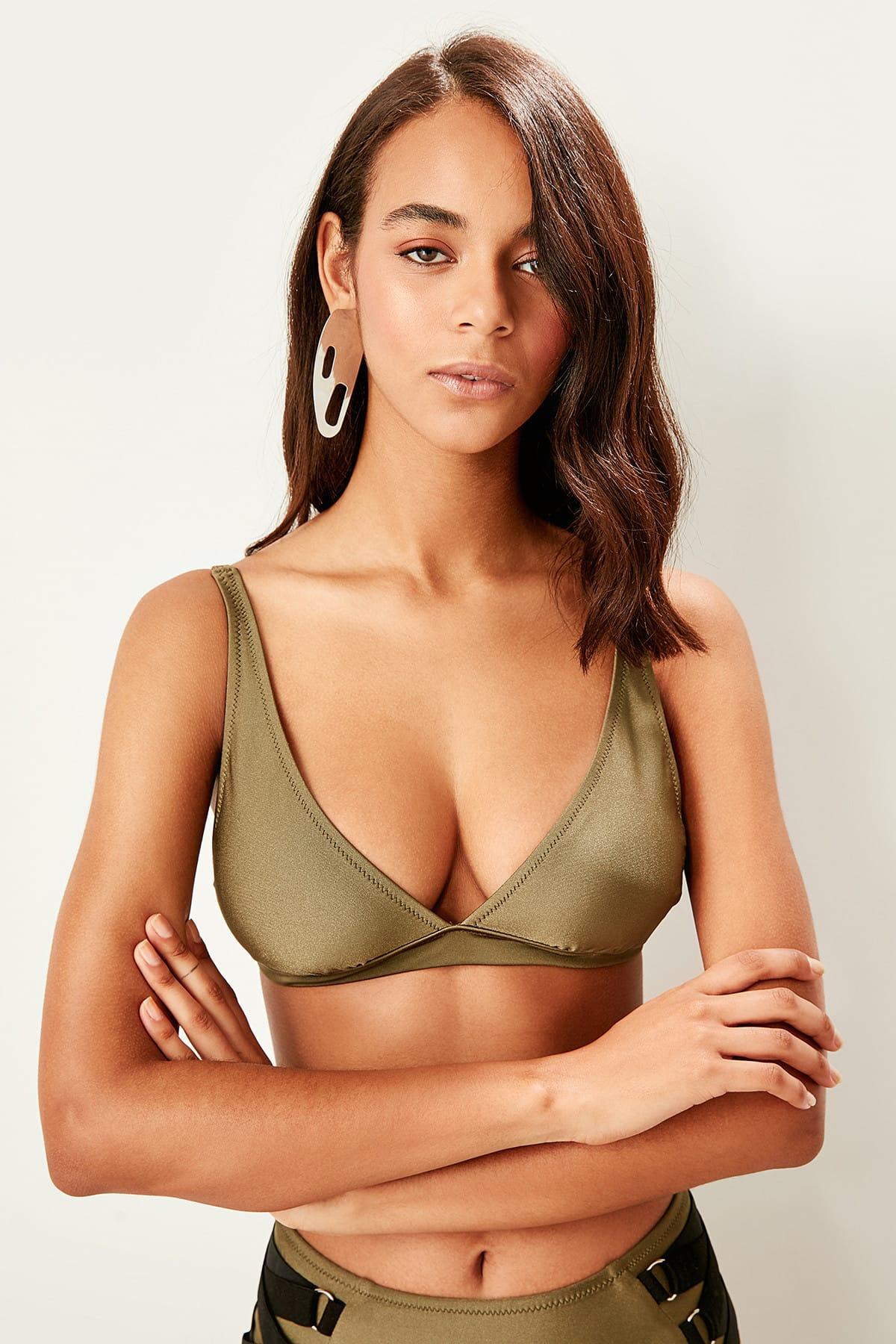 Trendyol Khaki Triangle Bikini TOP dámsky