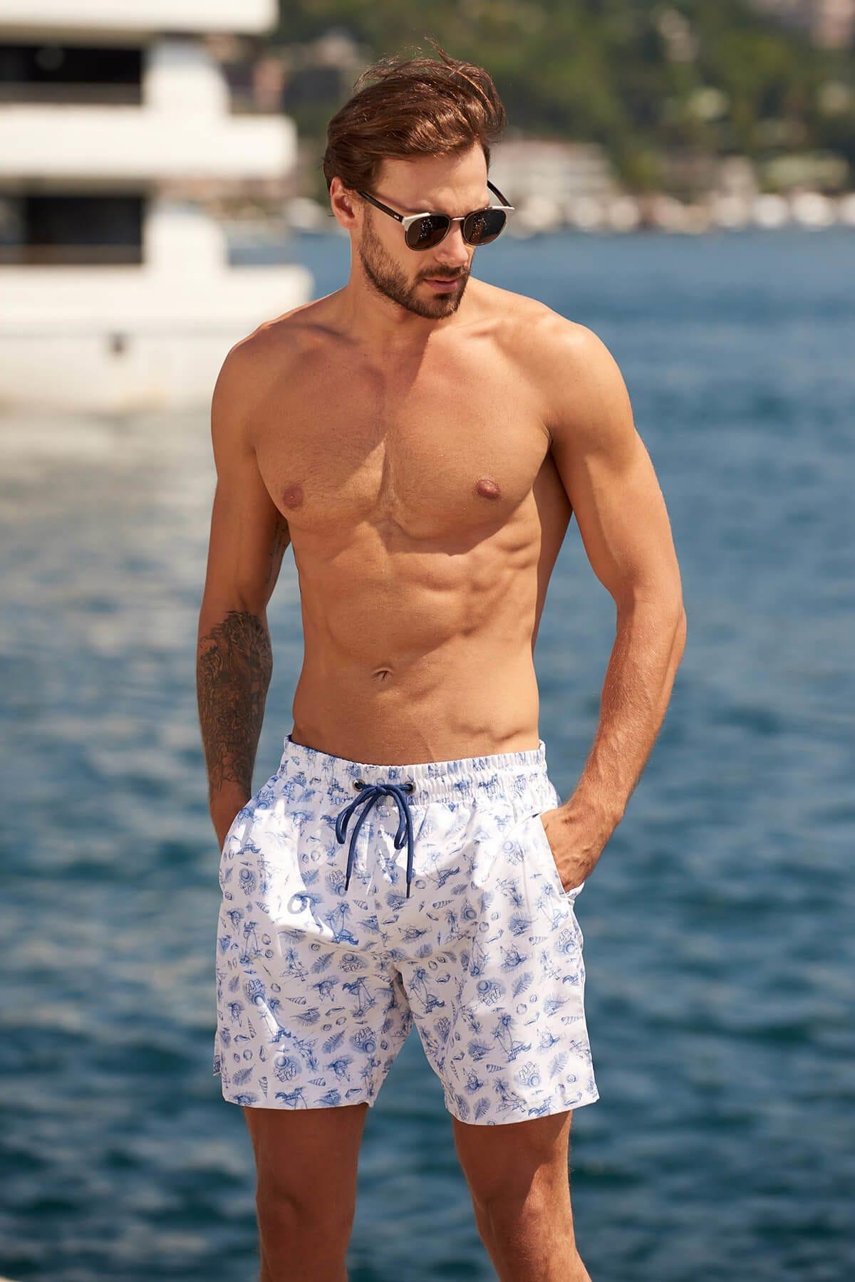 Trendyol White male Seashell printed mermaid shorts