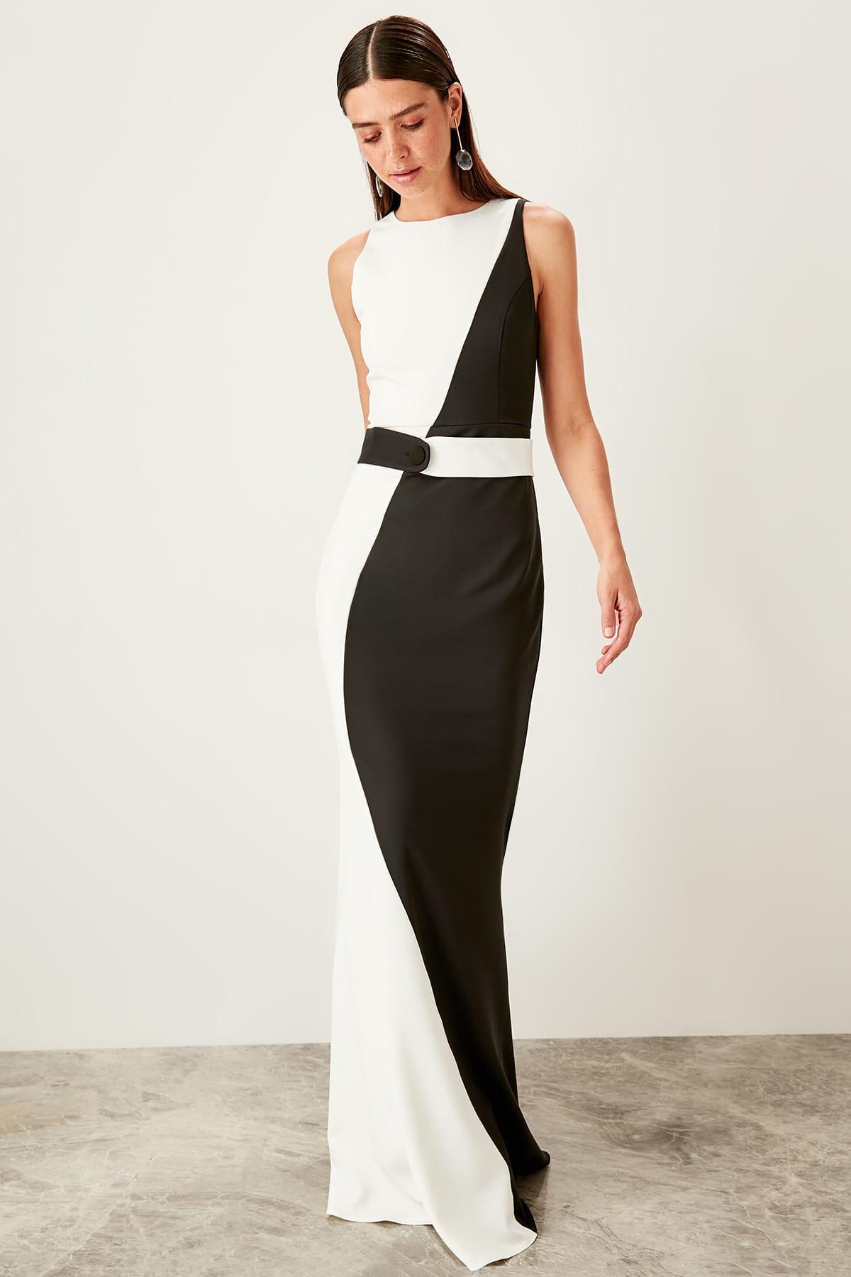 Trendyol dámske čierno-biele večerné šaty