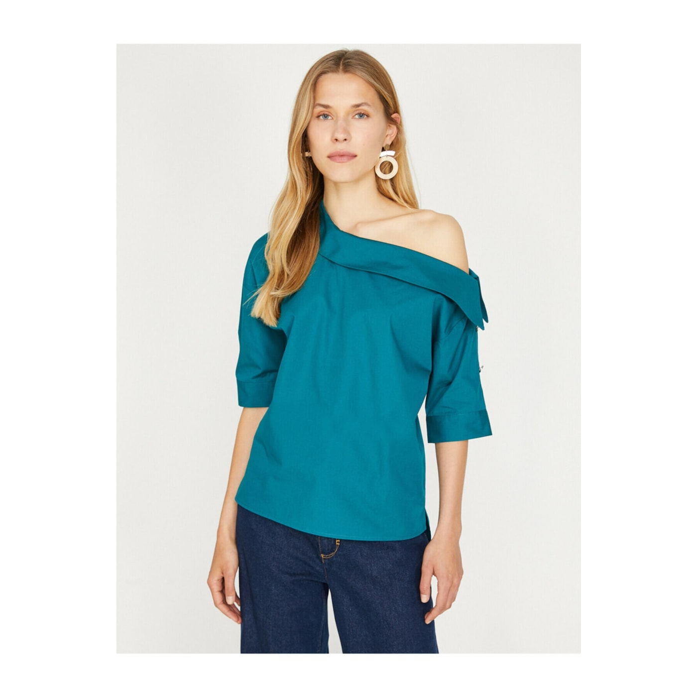 Koton Women's Petrol Blue Off the Shoulder Blouse