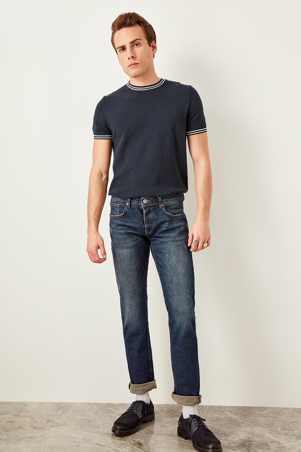 Trendyol Indigo Male Yıpratmalı Jeans-Flexible Fabric Slim Fit Denim Pants