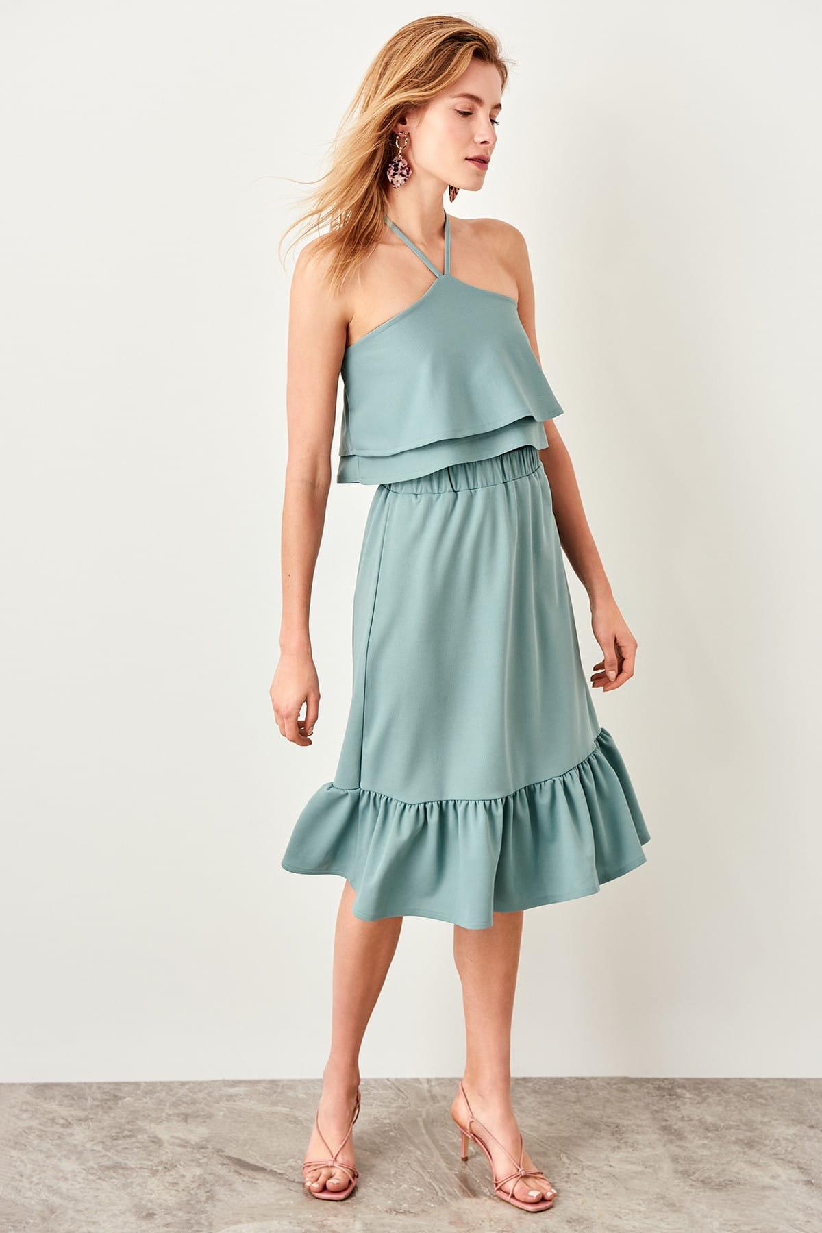 Trendyol Mint Hand-Wheel Knitting Skirt