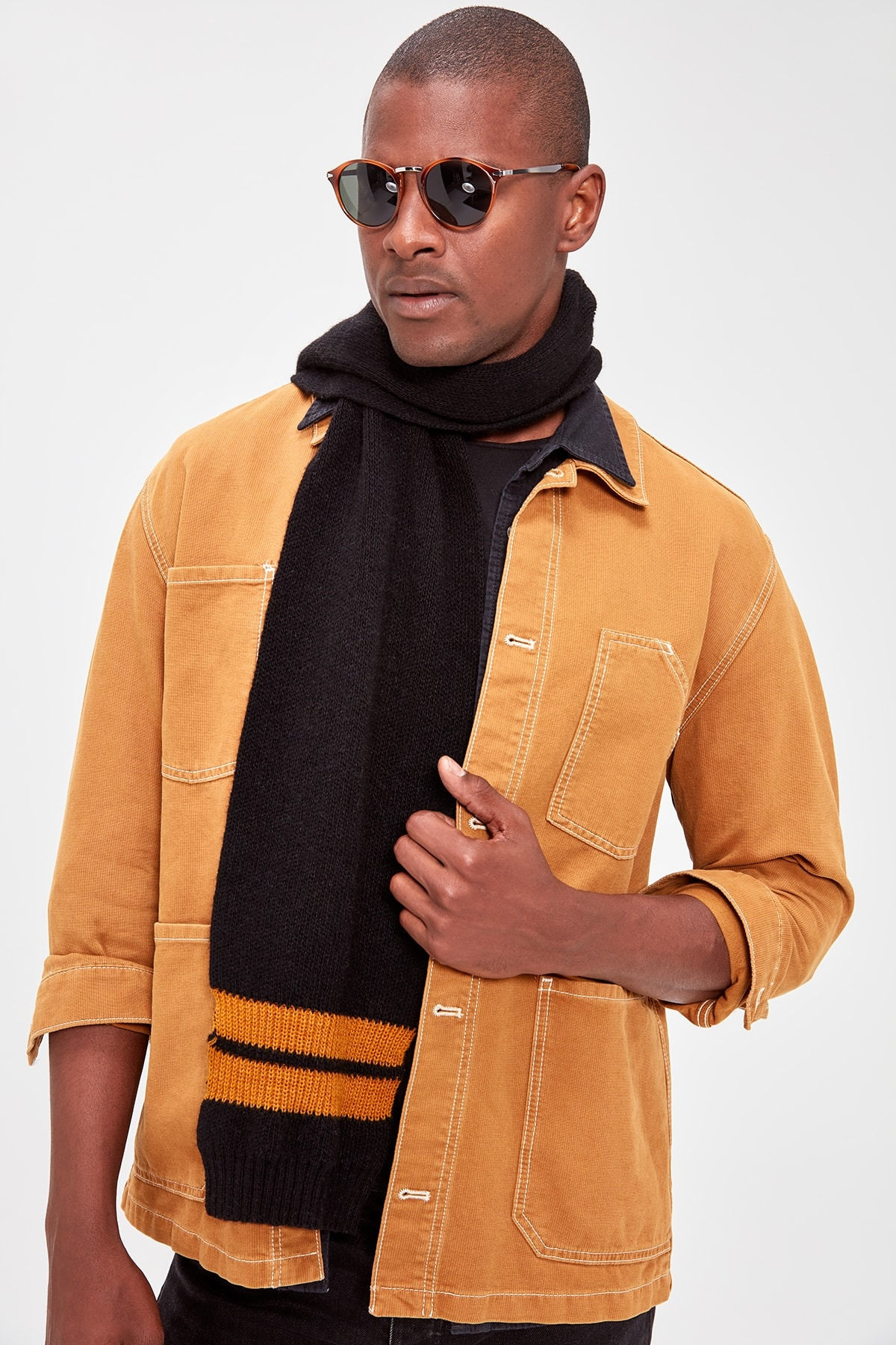 Trendyol Black Male White Striped Scarf