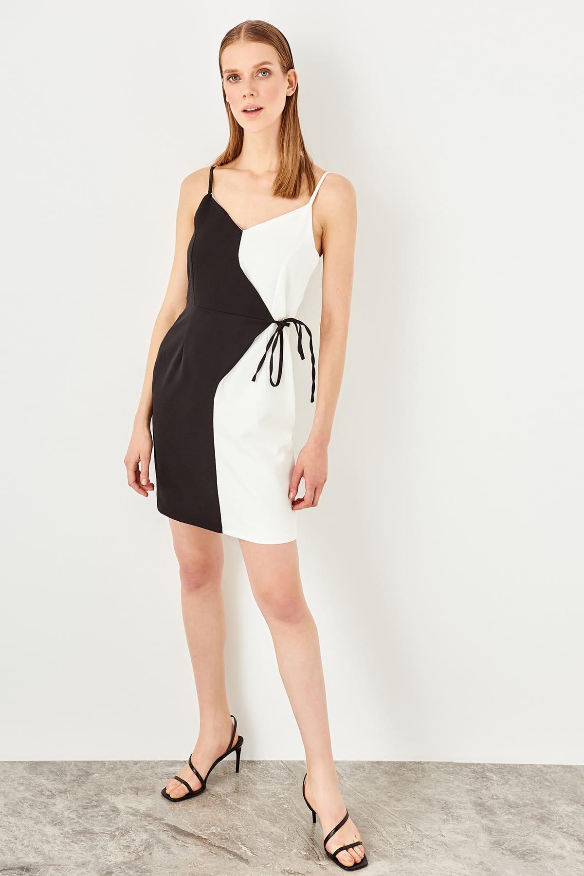 Trendyol Black and white binding detailed dress