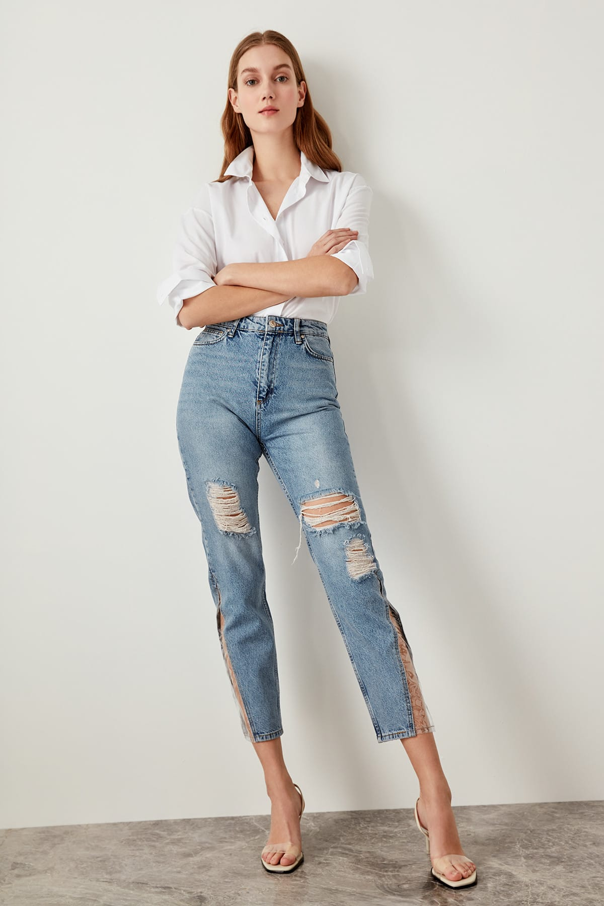 Trendyol M P Detailed High Waist Mom Jeans