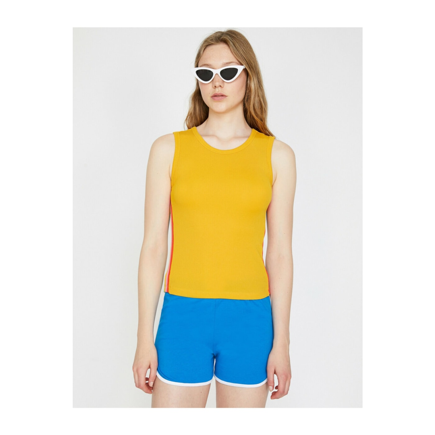 Koton Women's Yellow Crew Neck Sleeveless Color-Blocked Tank Top