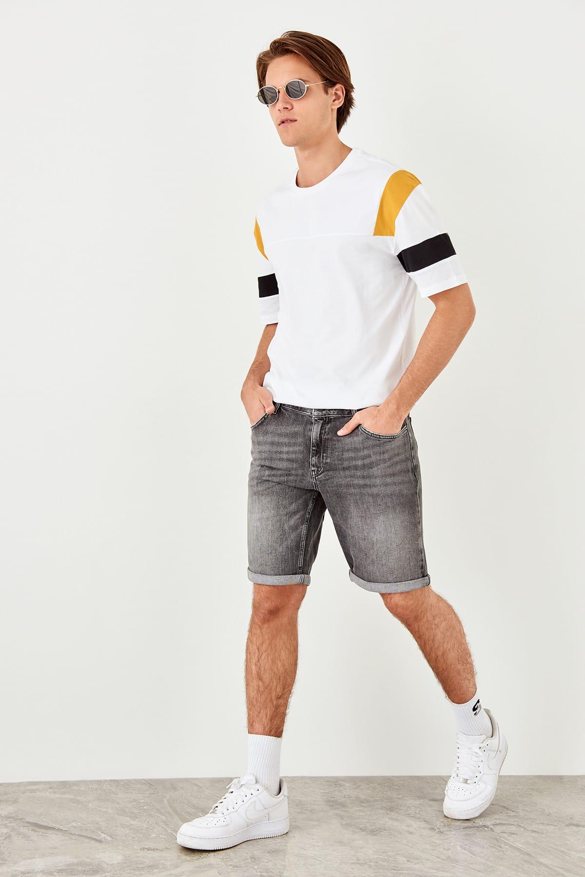 Trendyol Anthracite male Slim Fit curved leg Denim Shorts
