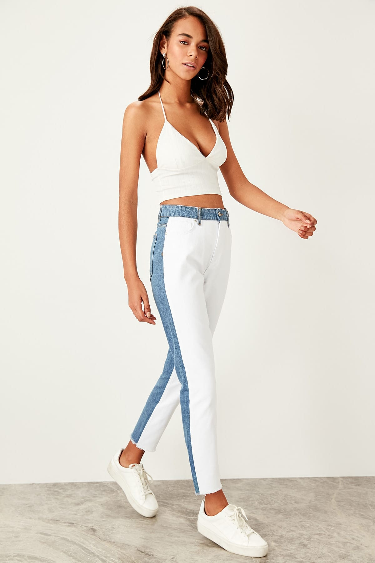 Trendyol Blue white laced high waist Mom Jeans
