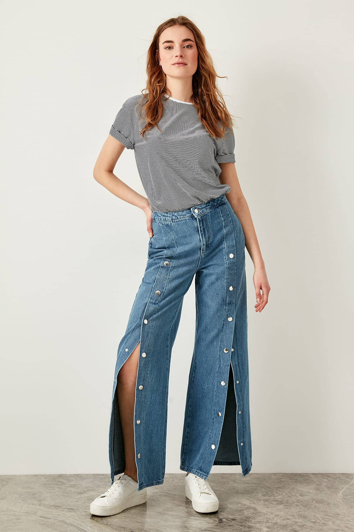 Trendyol High Waist Wide Leg Jeans Blue Studs Detail