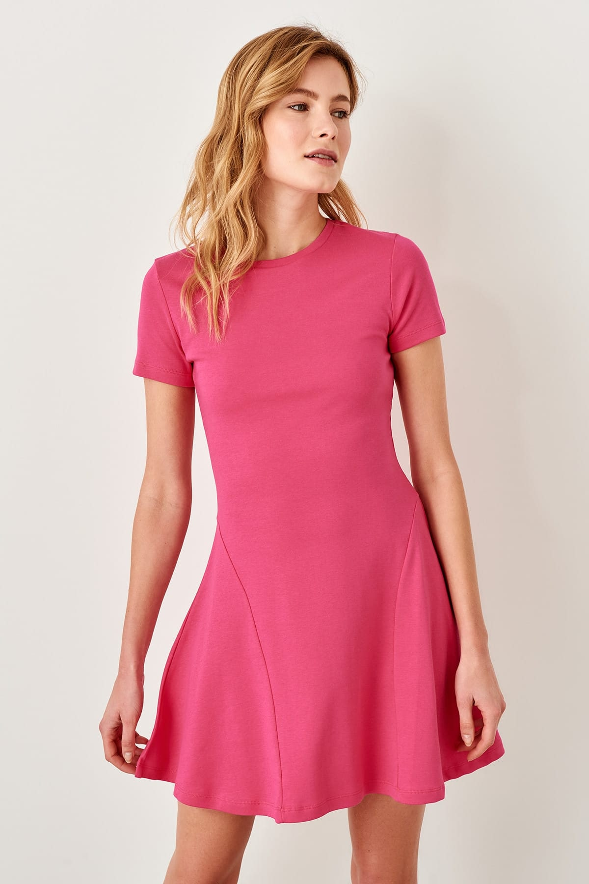 Trendyol Fuchsia Hand-Wheel Knit Dress