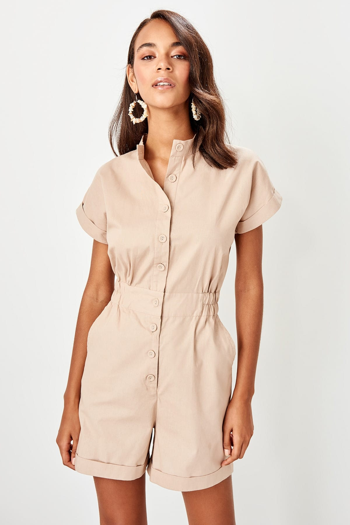 Trendyol Stone button Detailed jumpsuit