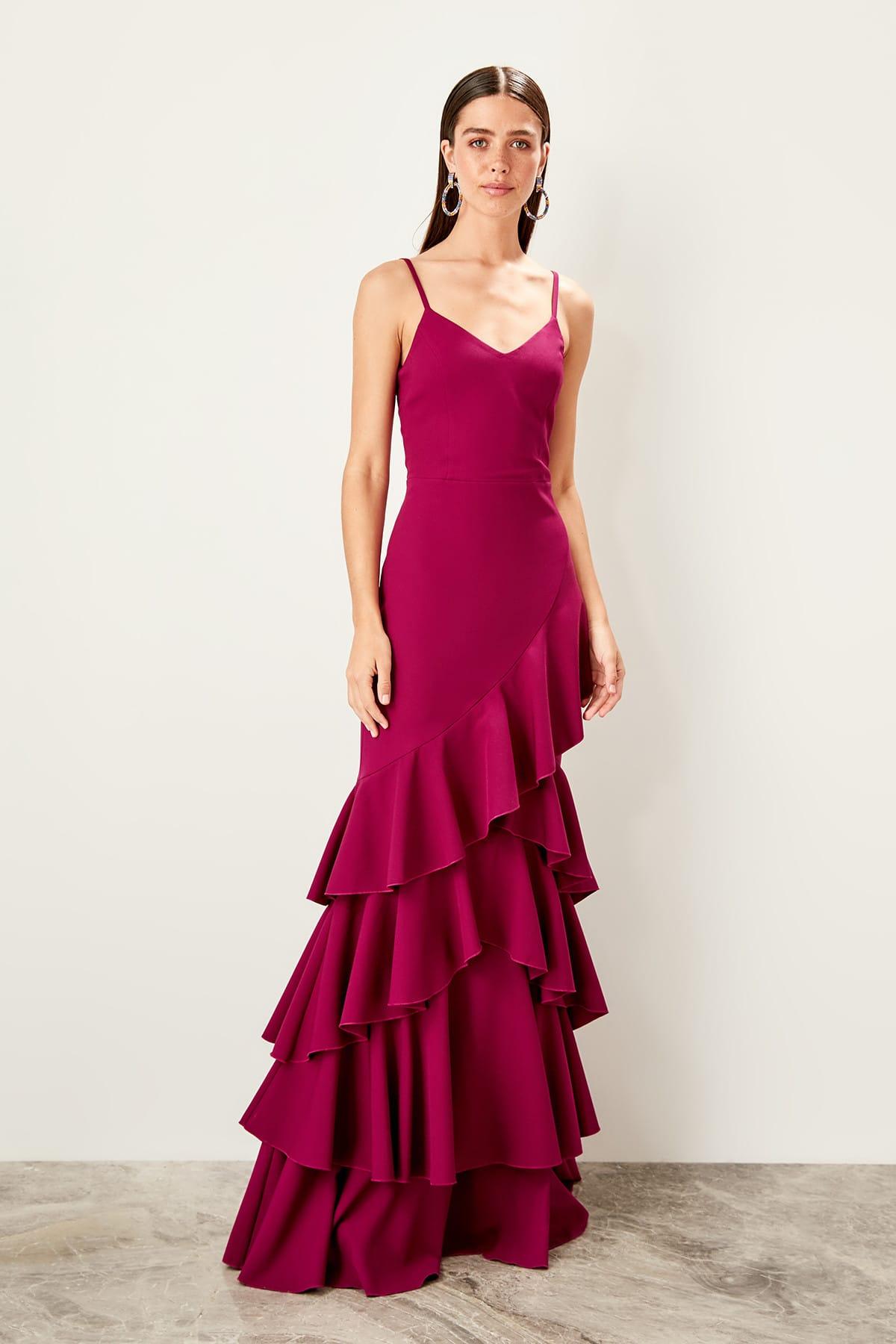 Trendyol Fuchsia Skirt Evening Dress
