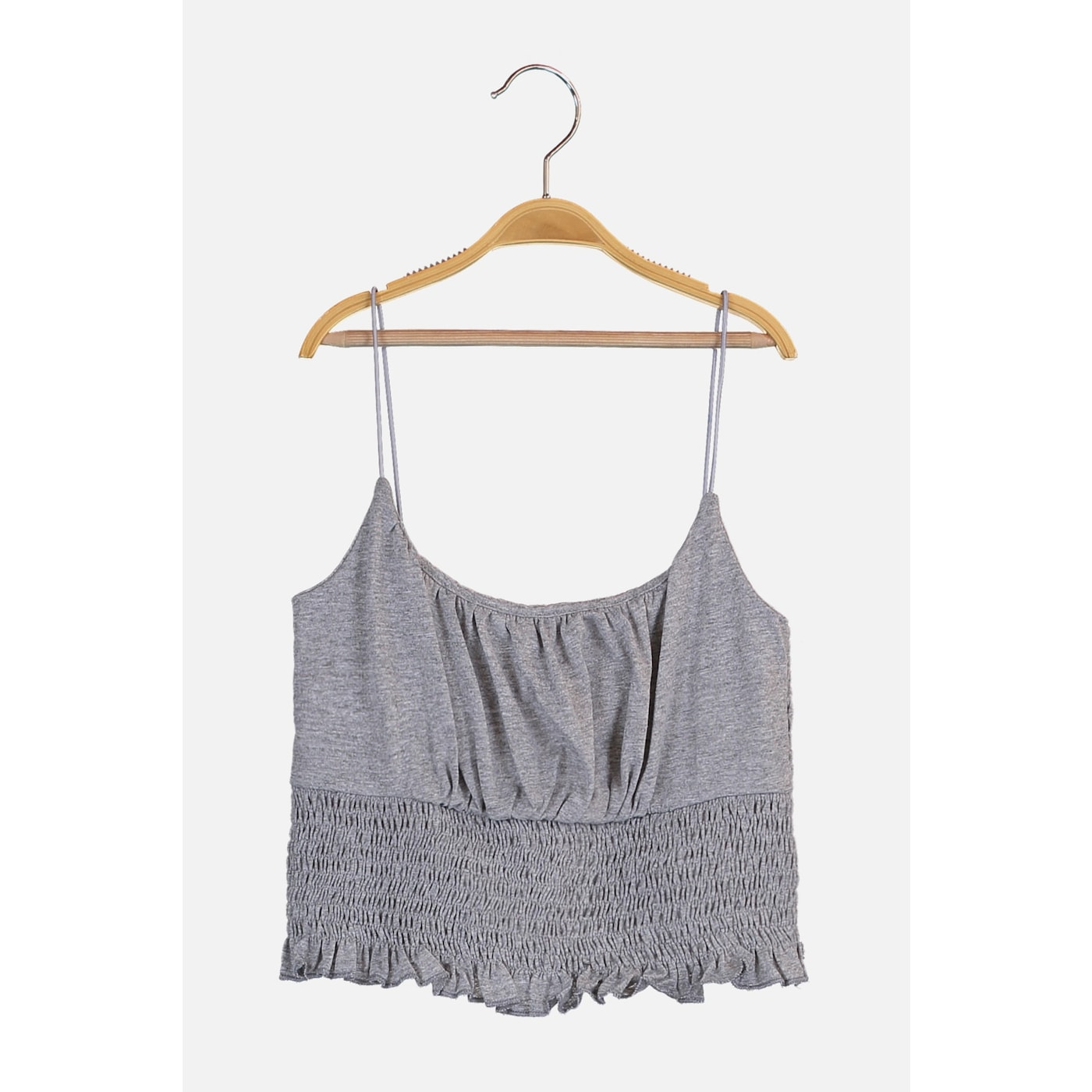 Trendyol Gray Gipeled Crop Knitted Blouse