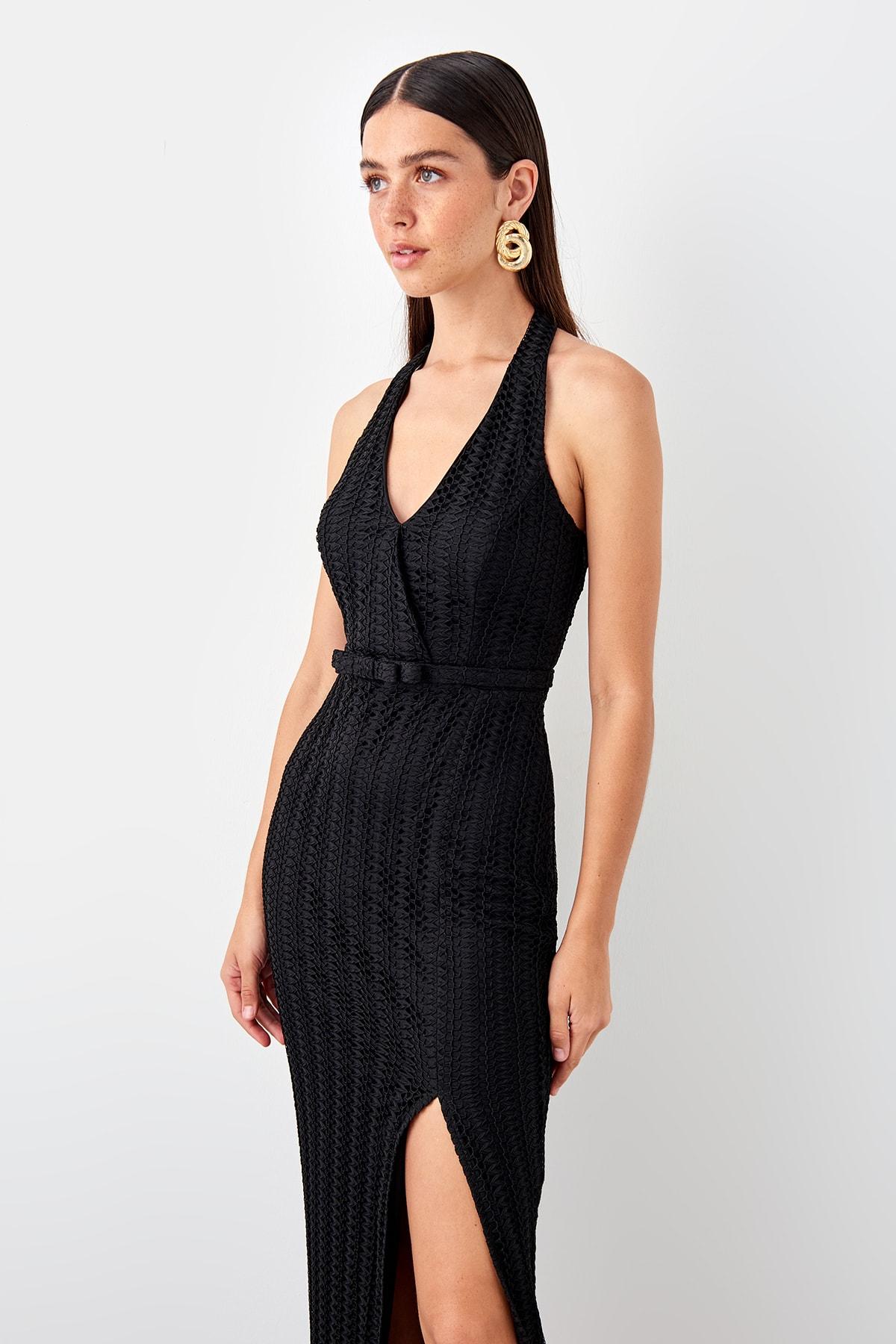 Trendyol dámske večerné šaty s opaskom