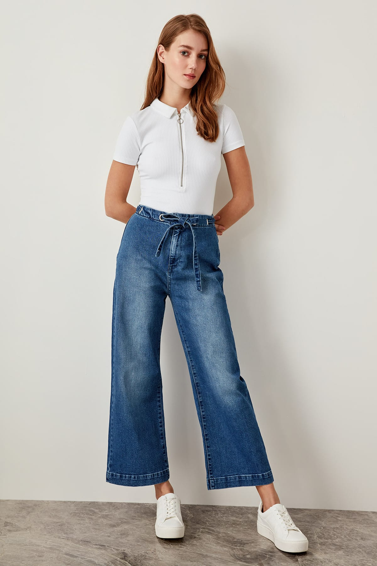 Trendyol High Waist Wide Leg Jeans Blue Binding Detailed