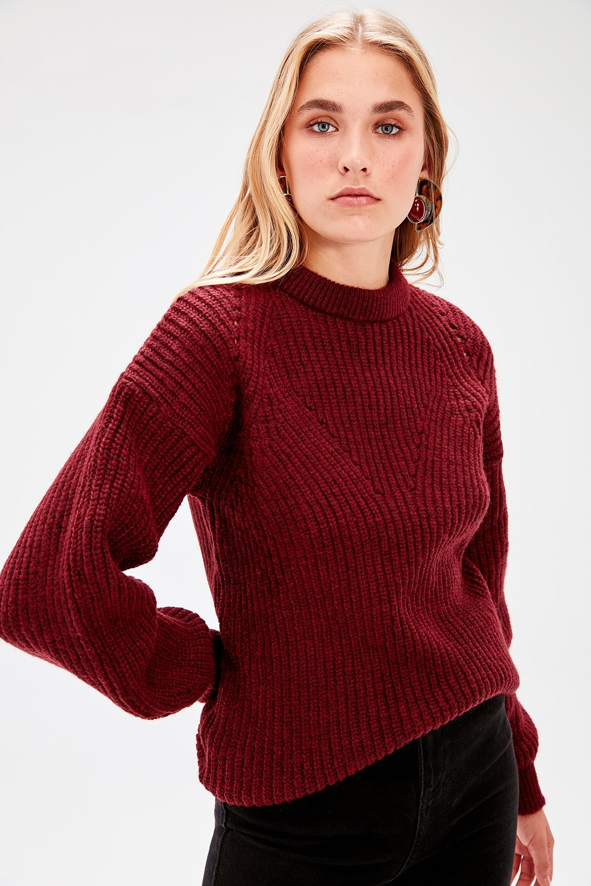 Trendyol Burgundy Knitté Detailed Knitwear Sweater