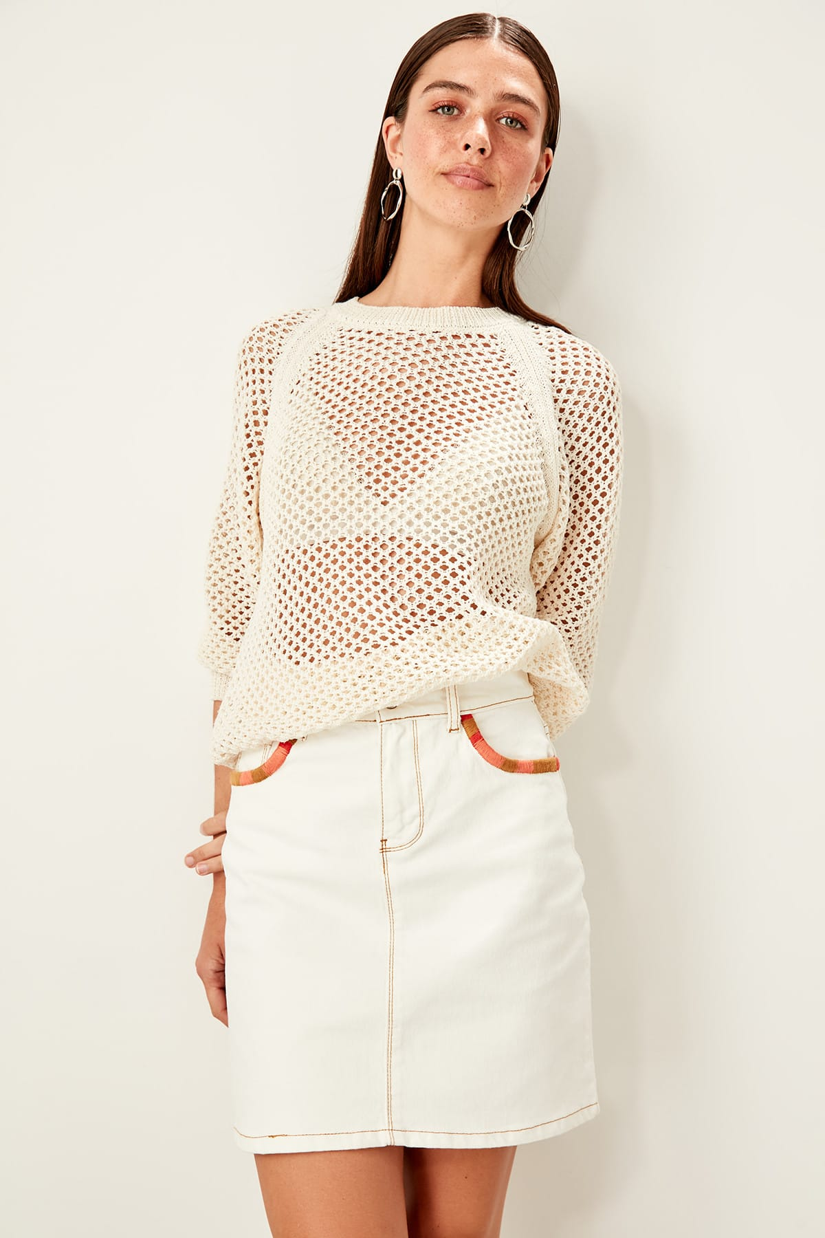 Trendyol Ecru Embroidered Denim Skirt