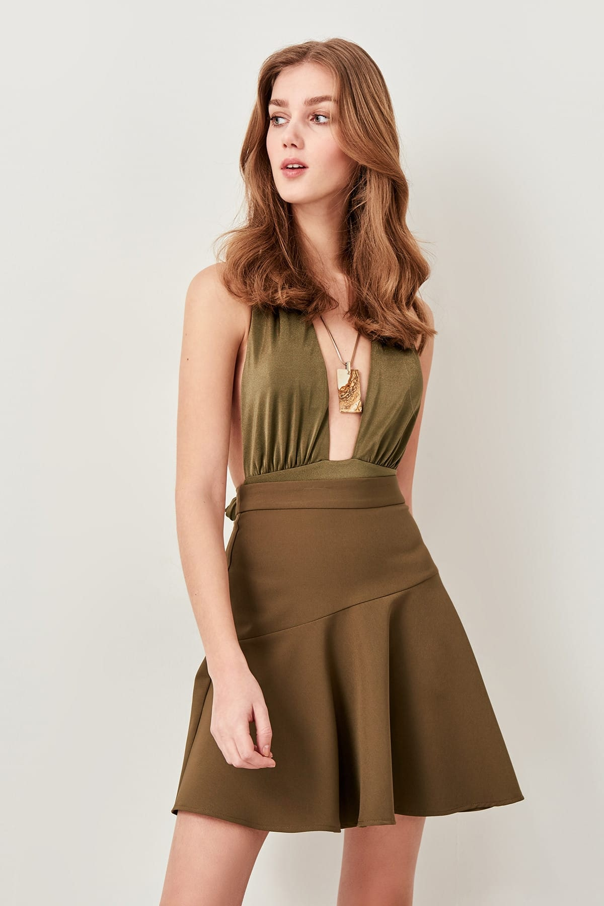 Trendyol Khaki Hand-Wheel Skirt