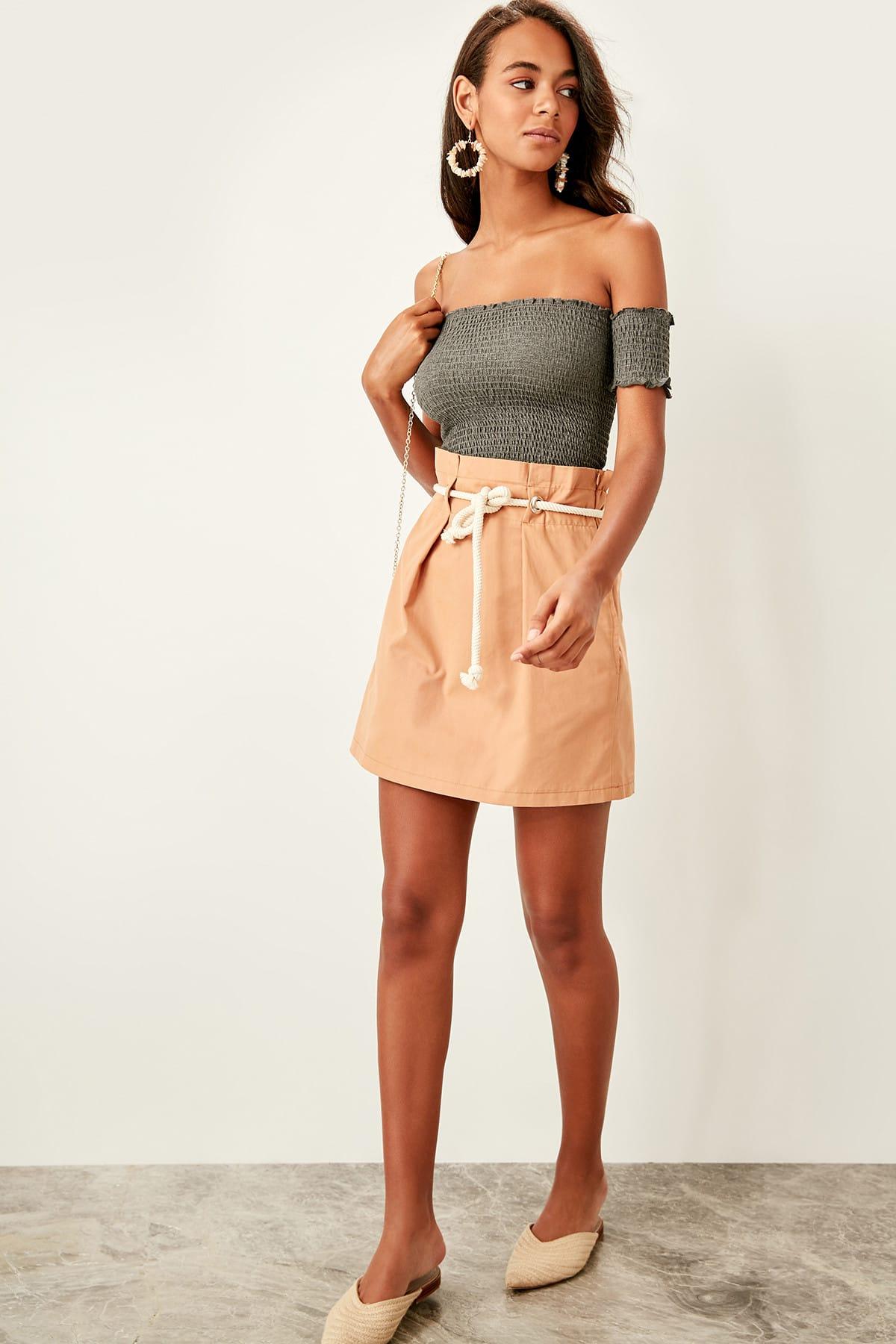Trendyol Camel Front tie skirt