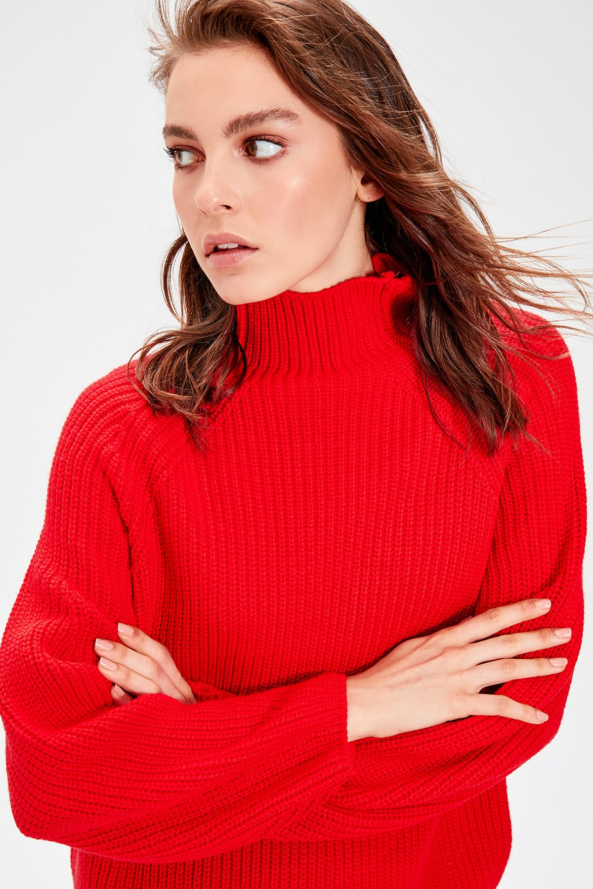 Trendyol Red Upright Collar Knitwear Sweater