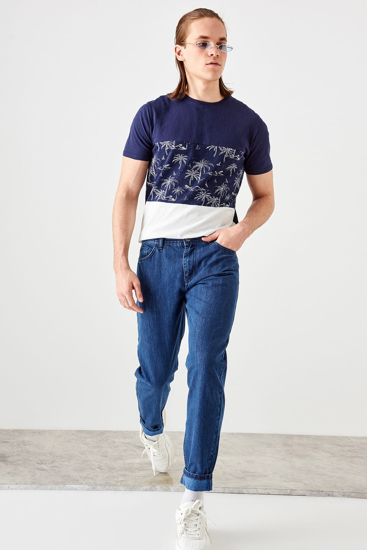 Trendyol Blue male Tapared Jeans