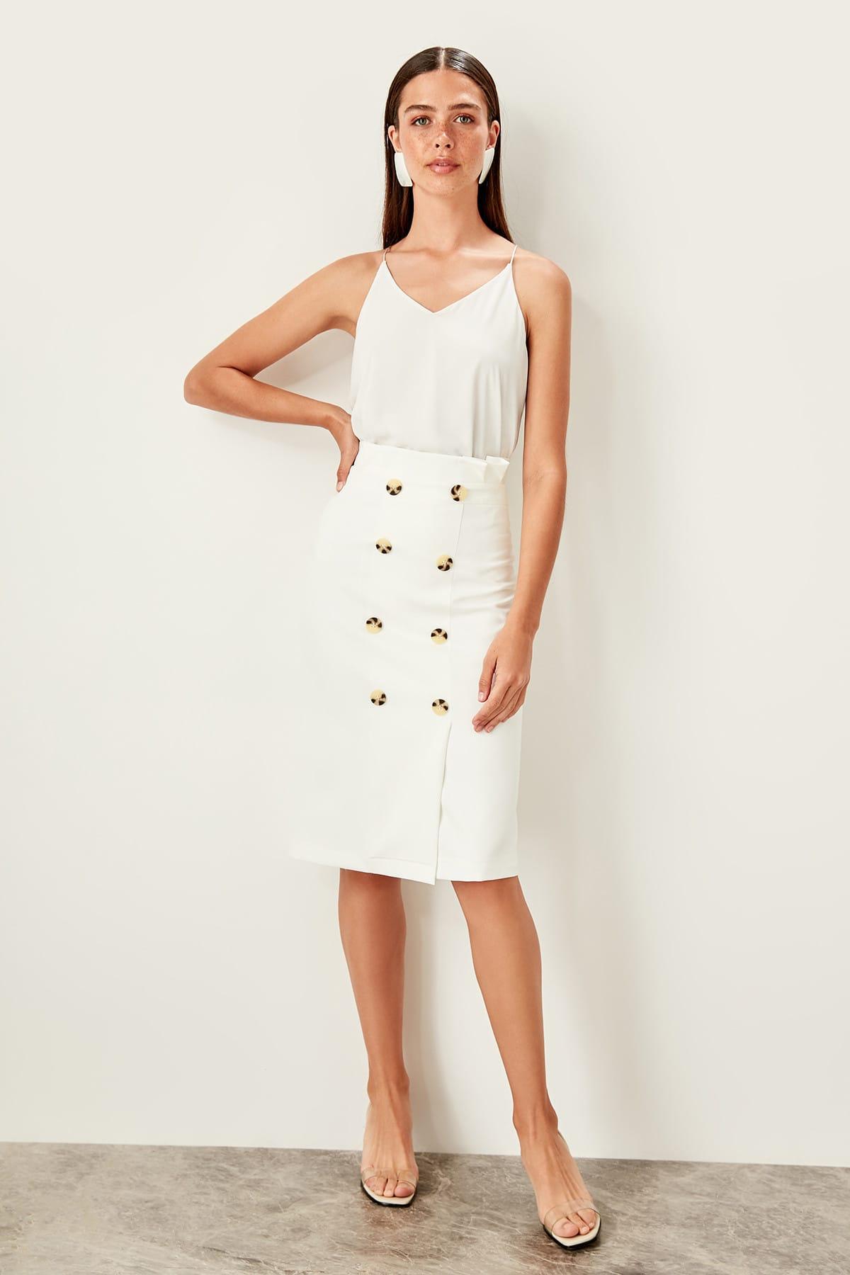 Trendyol White Bone button Detailed skirt