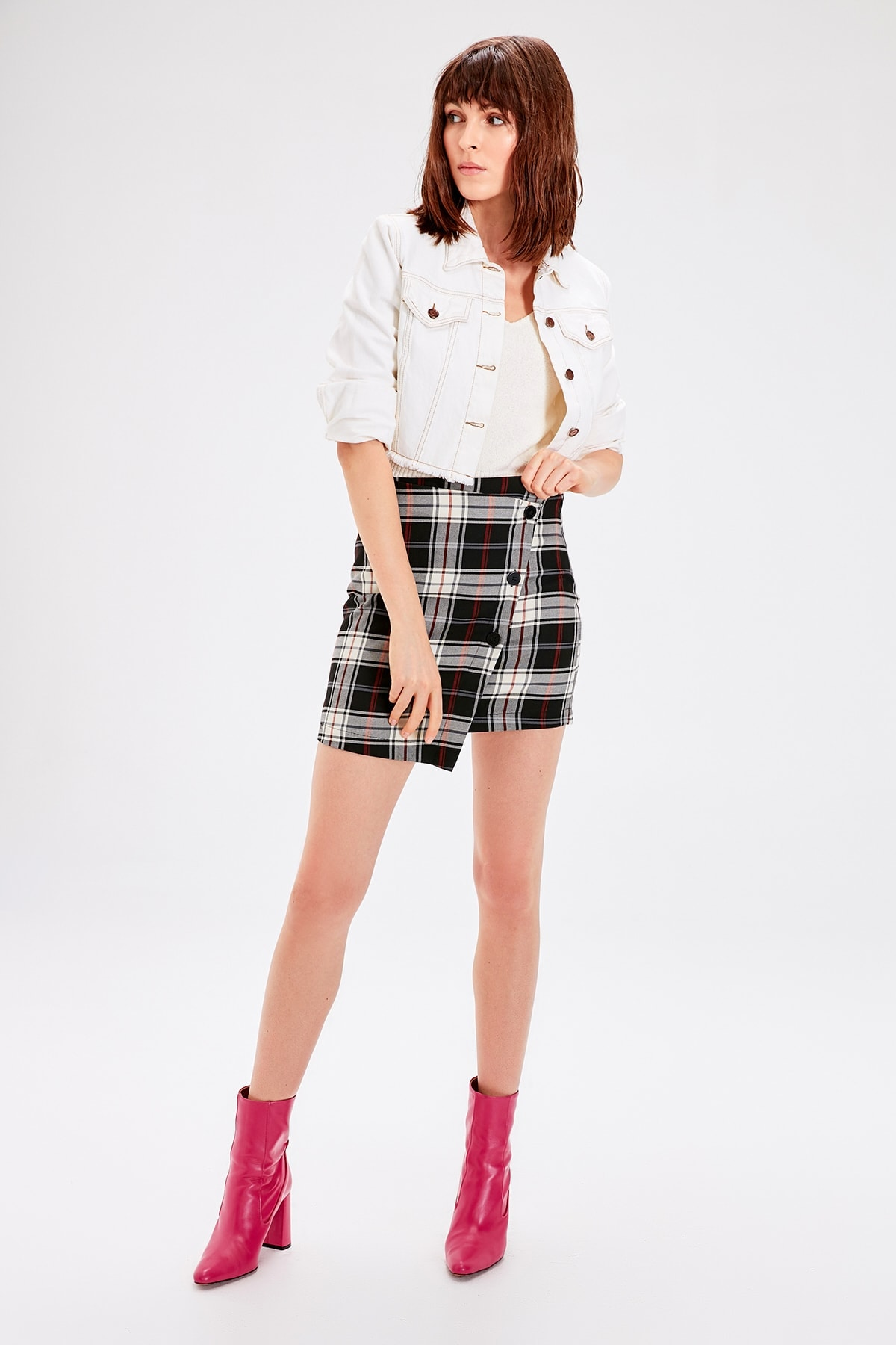 Trendyol Black Squared Button Detailed Skirt