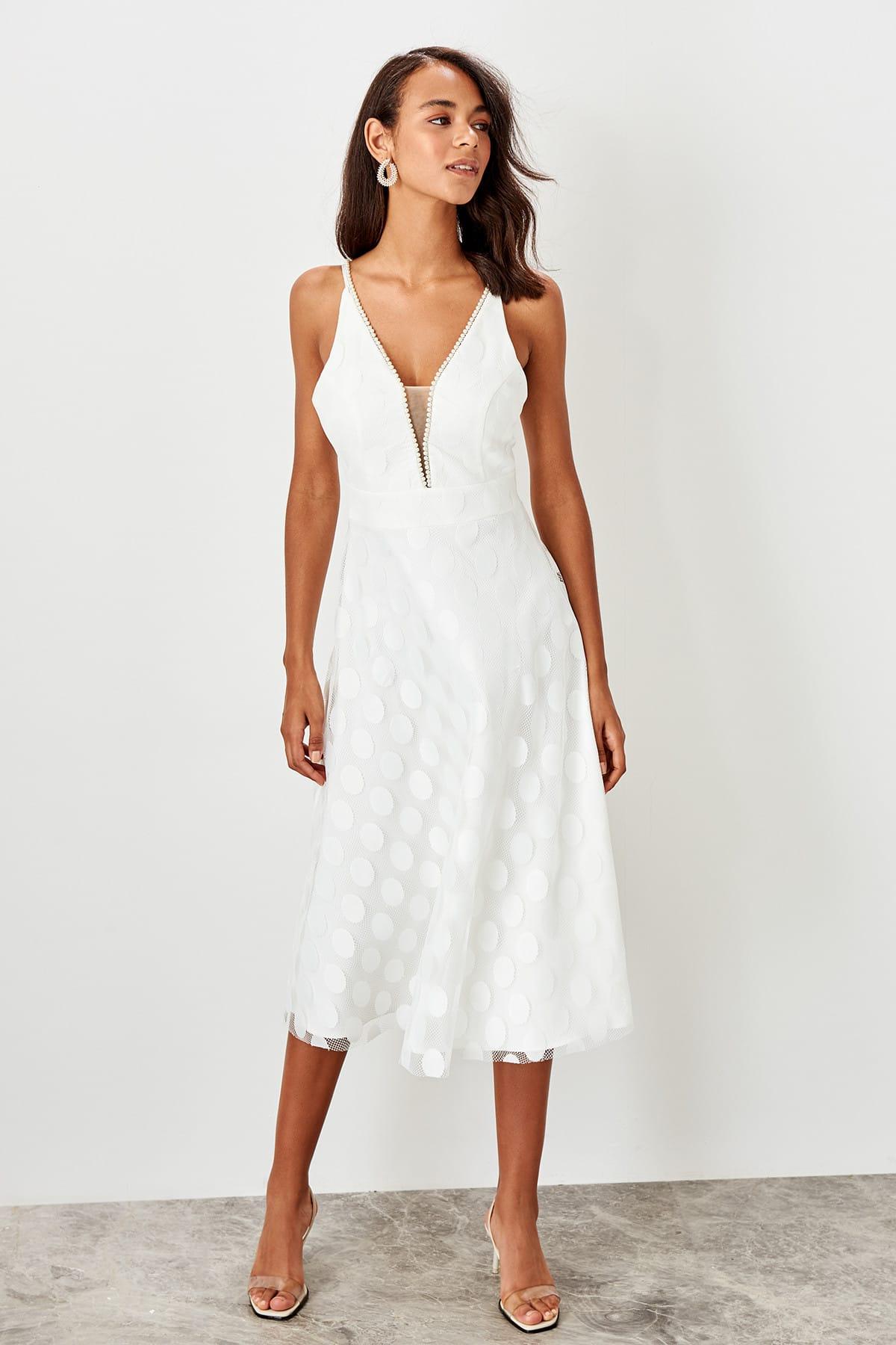 Trendyol Ecru Pearl Detailed dress