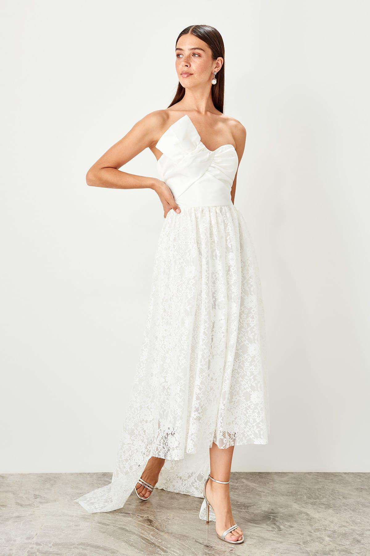 Trendyol Ecru Collar detailed evening dress