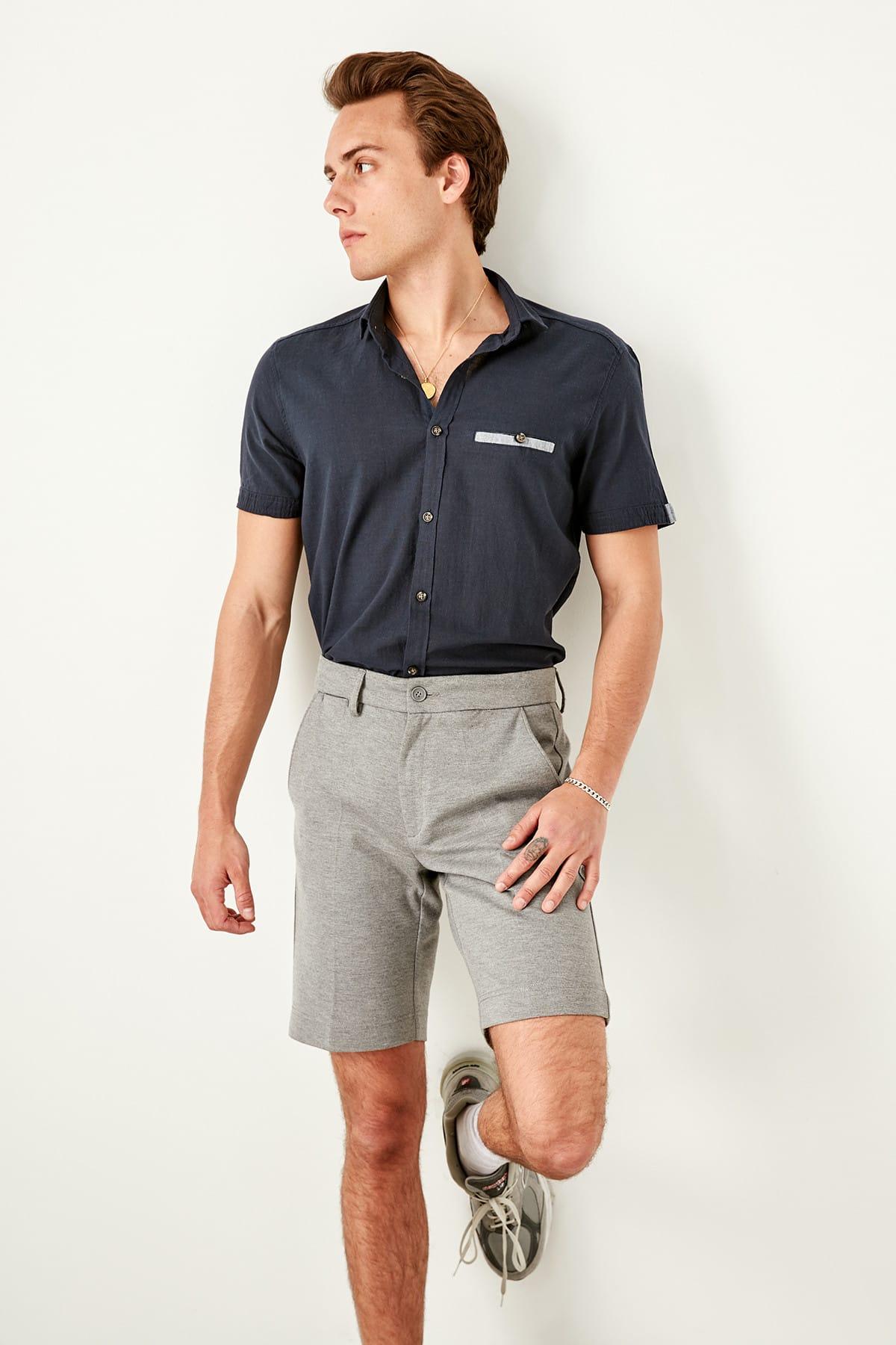 Trendyol Navy Blue Short Sleeve Slim Fit Shirts Buttoned Collar Epaulets Men