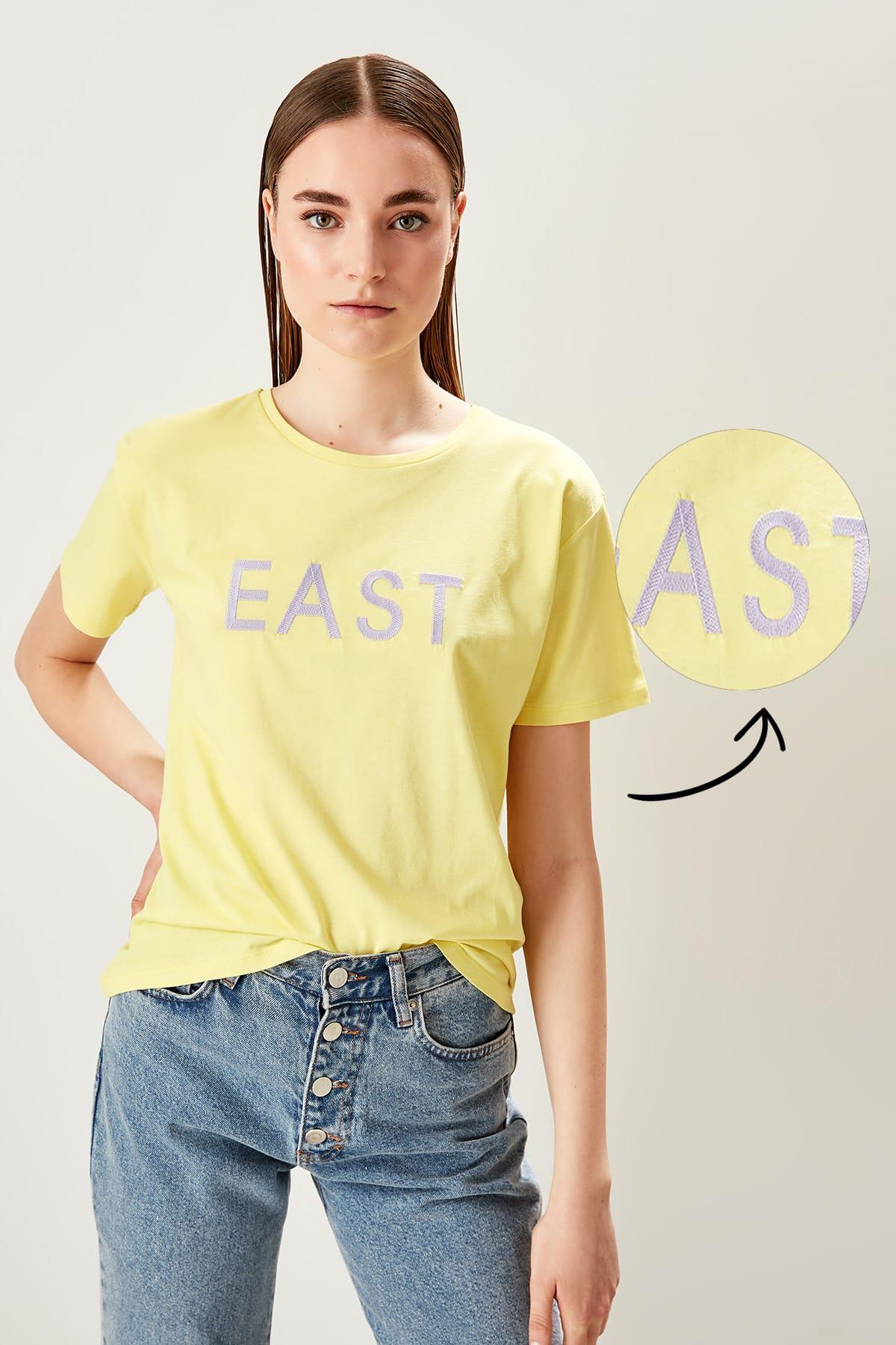 Trendyol Yellow Embroidered Basic Knitting t-shirt