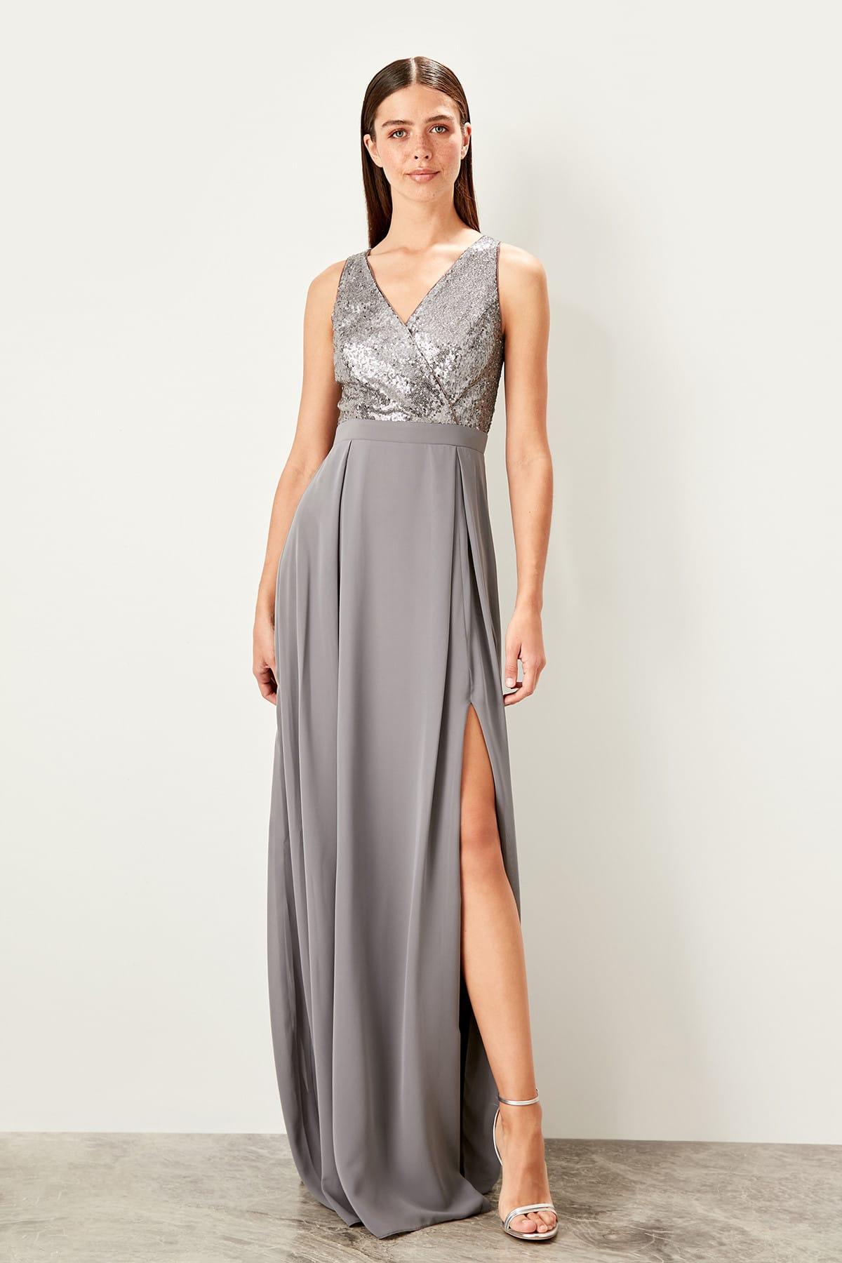 Trendyol dámske večerné šaty s flitrami