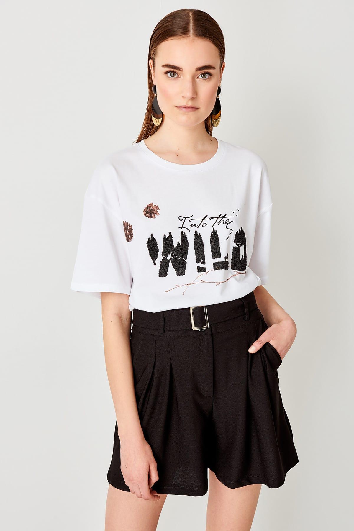 Trendyol White, printed Knitting Basic t-shirt